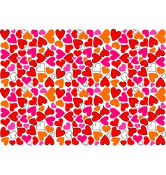 hearts background as mosaic in various color vector image vector image