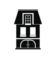 House with a mansard and garage icon vector image