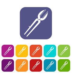 Metal scissors icons set flat vector
