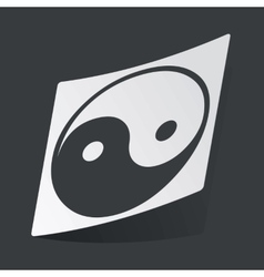 Monochrome ying yang sticker vector