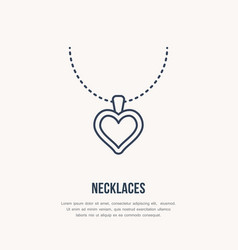 pendant on chain jewelry flat line vector image