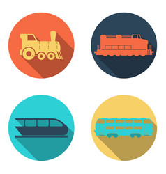 railway train flat icons set vector image