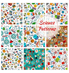 science seamless patterns for education design vector image vector image