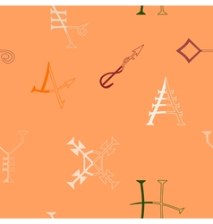 Seamless background with medieval alchemical signs vector