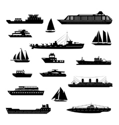 Ships and boats set black and white vector