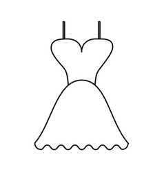 Short flared dress with cleavage and straps icon vector