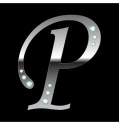 silver metallic letter P vector image vector image