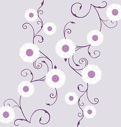 Tapestry with white gerbera over mauve background vector image vector image