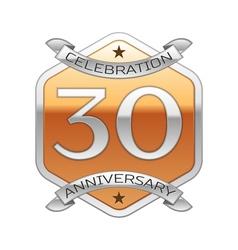 Thirty years anniversary celebration silver logo vector