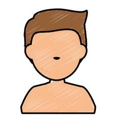 young man shirtless avatar character vector image
