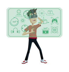 Young man virtual reality wearing headset vector