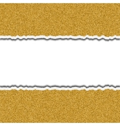 Gold glittering torn paper pieces ripped frame vector
