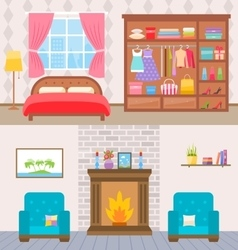 Bedroom with furniture and window wardrobe with vector