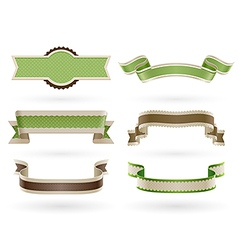 green ribbons vector image