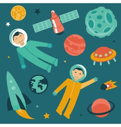 Set with space and planets icons vector