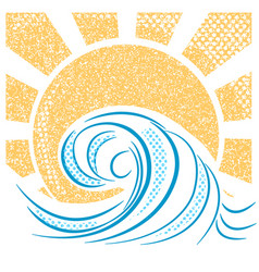 Vintage sea waves and sun of sea vector