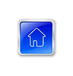 Home icon on blue button vector