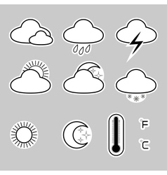 Icons indicate the weather on a gray background vector