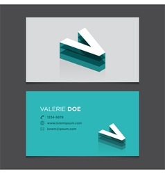 business card letter V vector image