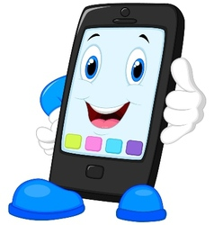 Smart phone cartoon calling vector