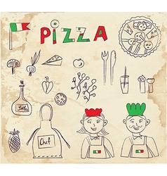 Pizza hand drawn elements - retro design vector image
