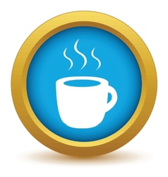 Gold cup of coffee icon vector