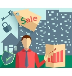 Businessman real estate trade vector