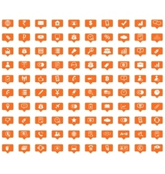 Business orange message icons set vector