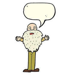 Cartoon bearded old man with speech bubble vector