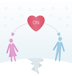 Two people in love on opposite sides of the land vector