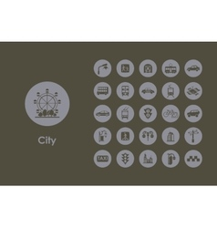 Set of city simple icons vector