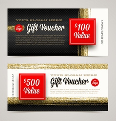 Gift voucher template with glitter gold vector