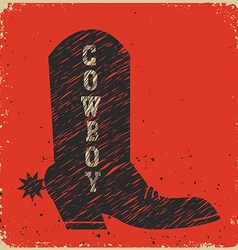 Cowboy boot background red card vector