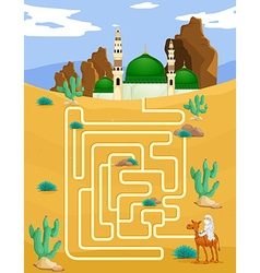 Maze game template with mosque background vector
