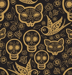 Gold seamless pattern day of the dead vector