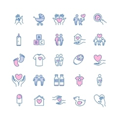 Family and children thin line icons set vector