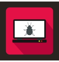 Laptop icon with a bug icon flat style vector