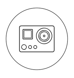 Action camera icon in outline style isolated on vector