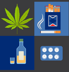 Alcohol drugs and tobacco icons set vector