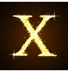 Alphabets x of gold glittering stars vector