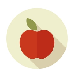 Apple flat icon with long shadow vector image
