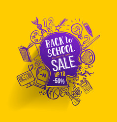 back to school sale on kids contour vector image vector image