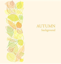 Background with border of autumn leaves vector