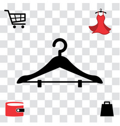 Black clothes hanger icon vector