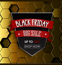 black friday big sale with yellow hexagonal vector image vector image