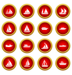 Boat and ship icon red circle set vector