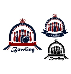 Bowling symbol or emblem in round frame vector image vector image