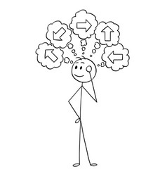 Cartoon of businessman choosing right direction vector