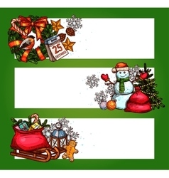 Christmas banner set with xmas tree gift snowman vector