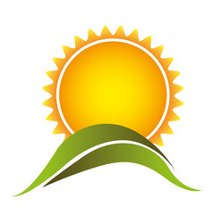 Color abstract sun with mountain icon vector